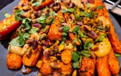 Krokante kip, wortel en puree