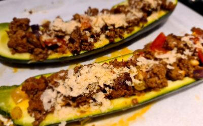 Gevulde courgettes en paprika's