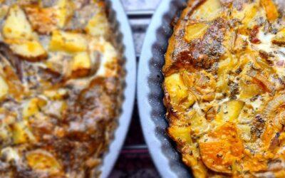 Spek, ui, aardappel quiche